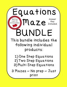 Equations Maze Bundle: One Step, Two Step, Multi Step Equations 6 Mazes