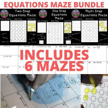 Equations Multi-Step Equations One Step Equations Two Step Equations Maze BUNDLE