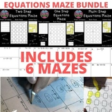 Solving Equations Multi Step Two Step One Step Equations Maze BUNDLE