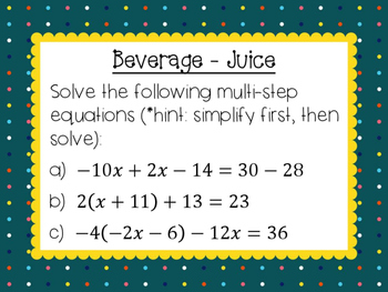 Equations Menu Activity - Two Step, Multi-Step, Word Problems + MORE!