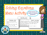 Equations Menu Activity - Two Step, Multi-Step, Word Probl