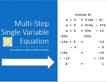 Equations Multi-Step Activity/Puzzle - Fun and Active