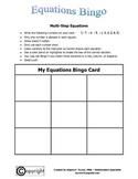 Equations: Multi-Step Equations Bingo