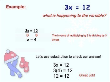 Equations Multiplying and Dividing One Step Smartboard Lesson Multiply Divide