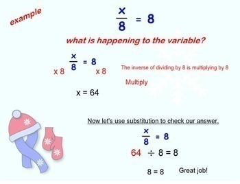 Equations Multiplying and Dividing One 1 Step Smartboard Lesson Multiply Divide