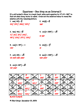 Equations - One Step on the interval 0 to 360 degrees
