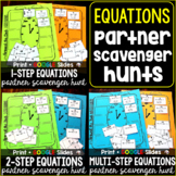 Equations Partner Scavenger Hunt Activity Bundle - print a