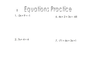 Equations Practice