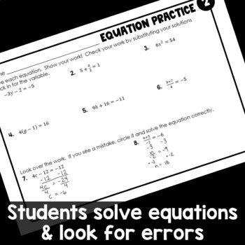 Equations Practice Worksheets