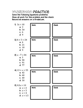 Equations Practice Review Worksheet Common Core Aligned Real World Problems