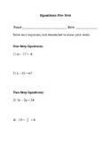 Equations Pre-Test