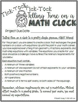 Equations Project-Math Clock Project-8th Grade Equations