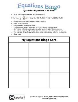 Equations: Quadratic Equations (All Real) Bingo