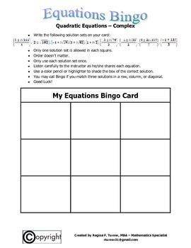 Equations: Quadratic Equations (Complex) Bingo
