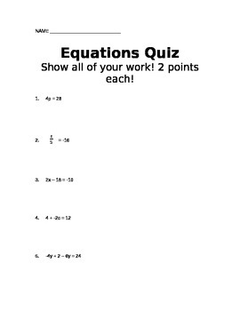 Equations Quick Quiz