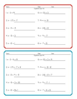 Equations Quiz Pack! 12 equations quizzes: 1-step, 2-step, multi-step