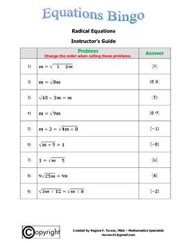 Equations: Radical Equations (Square Roots) Bingo