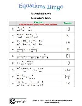 Equations: Rational Equations Bingo