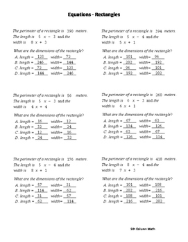Equations - Rectangles
