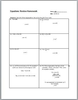 Equations Review Homework