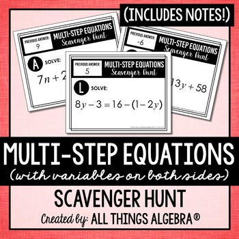 All things algebra teaching resources teachers pay teachers multi step equations scavenger hunt fandeluxe Image collections