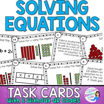 Equations Skills Practice Task Cards with and without QR codes