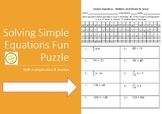 Equations - Solve one-step with multiplication and division fun puzzle worksheet
