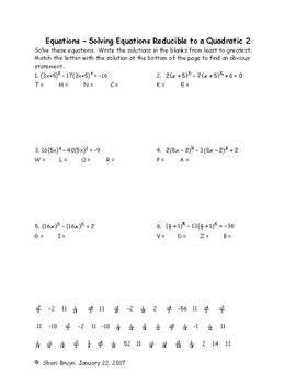 Equations - Solving Equations Reducible to a Quadratic 2