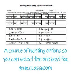 Equations - Solving Multi-Step Equations Fun Puzzle Differentiated