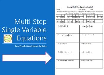 Equations - Solving Multi-Step Equations Fun Puzzle Differ