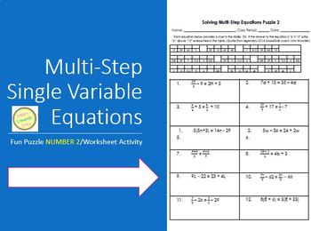 Equations Solving Multi Step Equations Puzzle 2 Differentiated