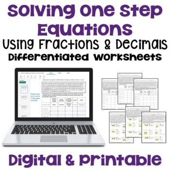 Solving One Step Equations with Decimals, Fractions & Mixed Numbers (3 Levels)