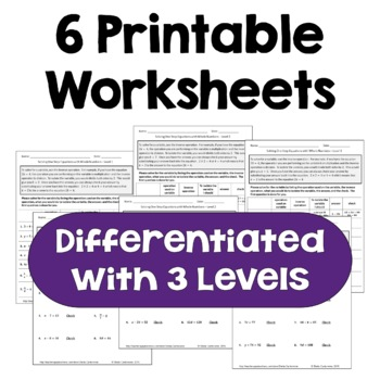 Solving One Step Equations with Whole Numbers Worksheets (3 Levels)