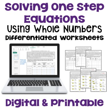 Solving One Step Equations with Whole Numbers (Differentiated)