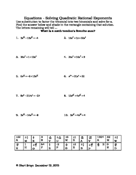 Equations - Solving Quadratic Rational Exponents