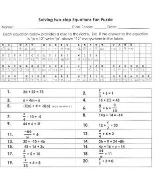 Equations Solving Simple Two Step Equations Fun Puzzle Worksheet Two-Step Variable Equations Worksheets Equations Solving Simple Two Step Equations Fun Puzzle Worksheet Or Assessment