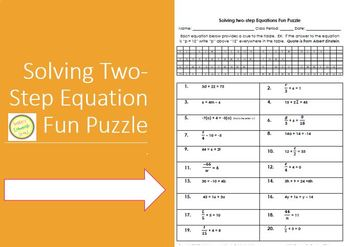 Equations - Solving Simple two-step Equations Fun Puzzle Worksheet or  Assessment