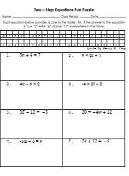 Equations Solving Two Step Equations Fun Puzzle Worksheet Two Tpt Multi- Step Equation Equations Solving Two Step Equations Fun Puzzle Worksheet Two