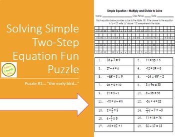 Equations - Solving two-step equations fun puzzle worksheet
