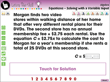 Algebra: Equations Solving with a Variable Input Learn the Skill NOTEBOOK Gr 3-5