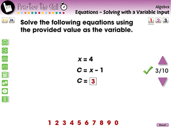 Equations - Solving with a Variable Input - Practice the Skill 1 - MAC Gr. 3-5