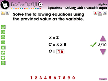 Equations - Solving with a Variable Input - Practice the Skill 2 - MAC Gr. 3-5