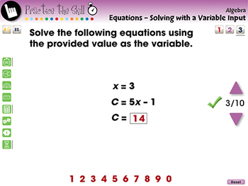 Equations - Solving with a Variable Input - Practice the Skill 3 - MAC Gr. 3-5