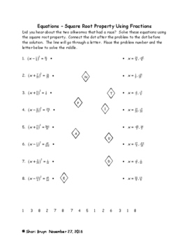 Equations - Square Root Property Using Fractions