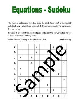 Equations - Sudoku puzzle