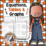 Equations Tables and Graphs Worksheet and Answer Key