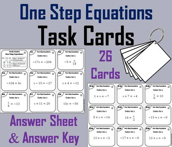 Solving Equations Task Cards/ Solving Equations with Variables on Both Sides