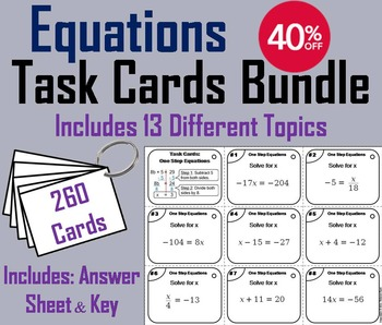 Solving Equations Task Cards/ Solving Equations with Varia