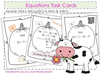 Equations Task Cards with QR Codes