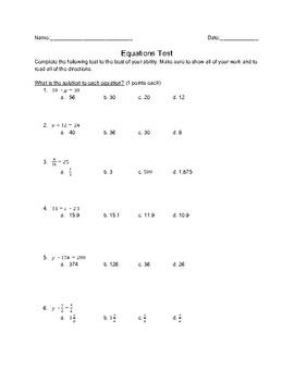 Equations Test